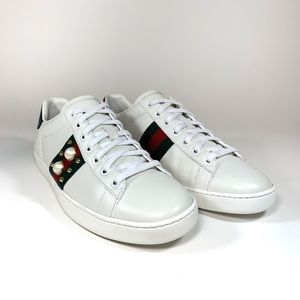 08f67ec4a6f Gucci New Ace Studded Web   Spike with Faux Pearl